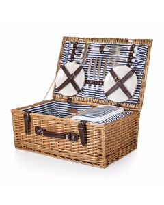Southampton Blue and White Striped Deluxe Picnic Basket for 4 With Cooler Compartment - IN STOCK IN GREENWICH, CT FOR QUICK SHIPPING