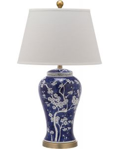 Set of 2 Blue and White Floral Plum Blossom Porcelain Table Lamps