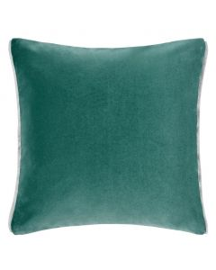 Set of 2 Velvet Square Reversible Decorative Pillows in Ocean Blue and Aqua