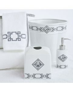Square Key Monogrammed Wastebasket Set