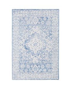 Jenna Ivory and Blue Hand Tufted Rug- Available in a Variety of Sizes