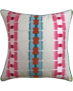 BARGAIN BASEMENT ITEM: Sri Lanka Embroidery Pink Decorative Pillow - IN STOCK IN GREENWICH, CT FOR QUICK SHIPPING