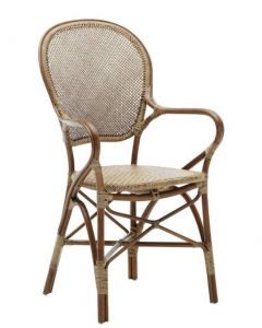 Stackable Natural Rattan Arm Chair - Available in Many Colors