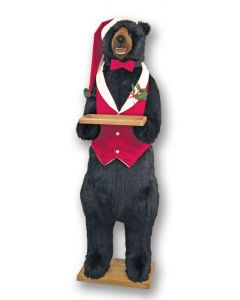 Standing Life Sized Christmas Bear in Butler Costume and a Smile