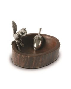 Pewter Standing Squirrel Nut Bowl & Scoop