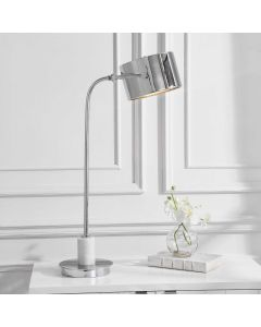 Bendel Steel Desk Lamp with Polished Nickel Finish and Marble Base