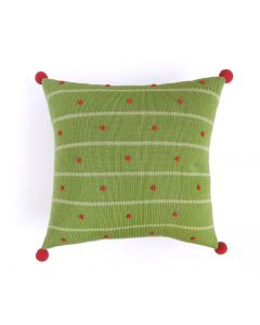 Striped French Knot Handmade Holiday Pillow in Green, Light Green, & Red