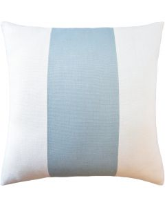 Striped Slubbly Linen Ivory and Light Blue Decorative Square Pillow – Available in Two Sizes