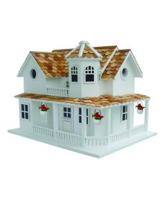 Summer Cottage Birdhouse with Porch & Flower Baskets