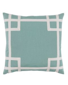 Mint Green Outdoor Pillow with White Tape Trim Detail