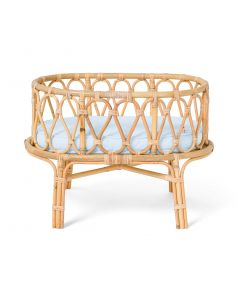 Sweet Dreams Handmade Rattan Doll Crib With Blue Cushion