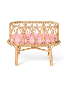 Sweet Dreams Handmade Rattan Doll Crib With Pink Cushion