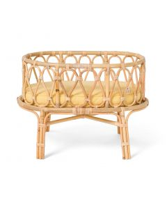 Sweet Dreams Handmade Rattan Doll Crib With Yellow Cushion - OUT OF STOCK