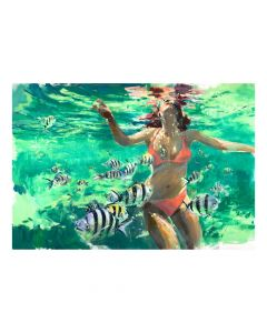 Swimming With The Fish Archival Digital Print Framed Wall Art