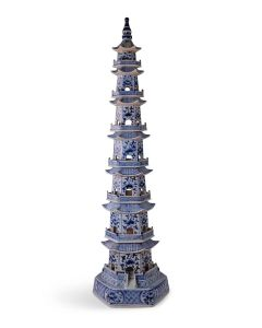 Tall Blue and White Porcelain 7 Layers Pagoda Statue