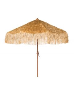 Tan Tropical Tiki Outdoor Crank Umbrella With Fringe - ON BACKORDER UNTIL MAY 2020