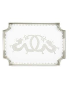 Hand Painted Dragon Design Decorative Tray - Available in Two Different Colors - NAVY IS CURRENTLY ON BACKORDER