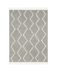 Taupe and Beige Plush Zig Zag Rug With Tassel Fringe - Available in a Variety of Sizes