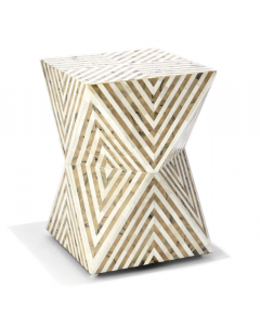 Taupe and White Bone Hand Crafted Mosaic Pattern Stool/Side Table