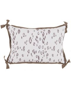 Taupe Leopard Outdoor Lumbar Pillow with Brown Trim