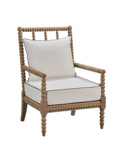 Teak Bobbin Arm Chair with White Cushion and Navy Detail
