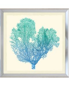 Teal and Blue Gradient Sea Fan II Framed Wall Art-Available in a Variety of Sizes