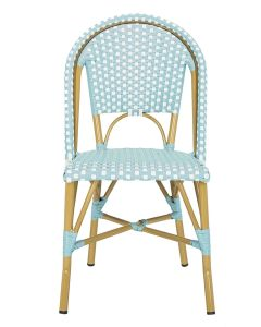 Set of 2 Teal and White Indoor-Outdoor French Bistro Stacking Side Chairs