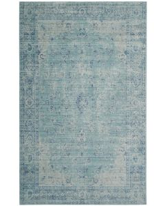Teal Rug with Watercolor Veiled Motifs