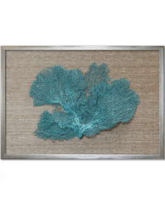 Teal Sea Fan on Brown Silk Framed Art - 26 Inches x 18 Inches - Various Fabric Colors Available