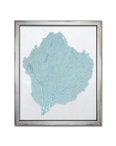Teal Sea Fan on White Silk Framed Art - 15 x 18 - Various Fabric Colors Available