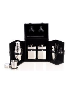 Ten Piece Flask and Shaker Set in Black Carrying Case