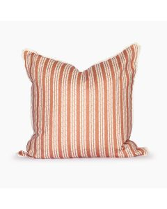 Tennessee White Bamboo Stripe Square Throw Pillow in Sunset Orange
