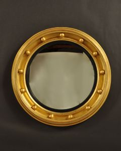 Carver's Guild Federal Rondel Round Wall Mirror in Antique Gold Leaf