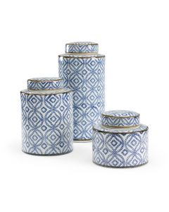 Set of 3 Blue And White Porcelain Lidded Canisters