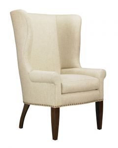 Throwback Upholstered Wing Back Chair with Nail Trim Detail