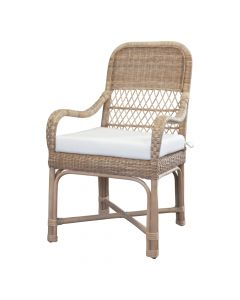 Tisbury Classic Wicker Dining Arm Chair - Available in Variety of Finishes