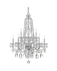 Traditional 10 Light Swarovski Crystal Chrome Mini Chandelier