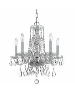 Traditional Crystal 5 Light Swarovski Strass Chrome Mini Chandelier