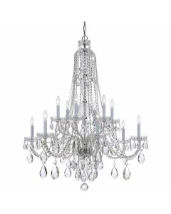 Traditional Swarovski Crystal 12 Light Chandelier