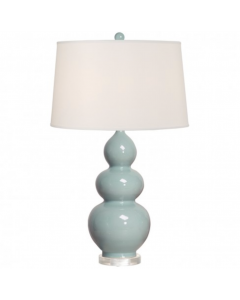 Triple Gourd Vase Lamp in Misty Blue Glaze With Shade