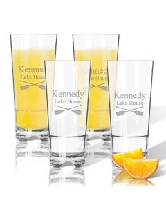 Personalized Set of Four Oars Lake House Highball Glasses