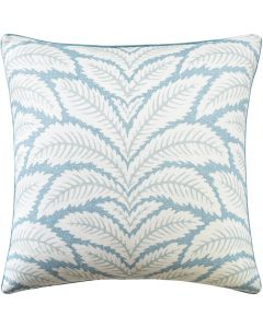 Tropical Floral Leaves Linen Aqua Decorative Square Pillow – Available in Two Sizes