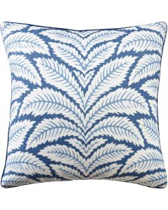 Tropical Floral Leaves Linen Indigo Decorative Square Pillow – Available in Two Sizes