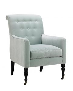Tufted Back Keswick Chair Upholstered in Alcoa Sea Foam Fabric