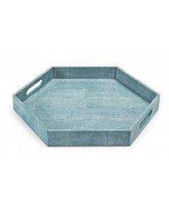 Shagreen Hexagon Decorative Serving Tray in Turquoise - BACKORDERED UNTIL MAY 2020