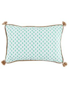 Lacefield Designs Turquoise Dot Print Sahara Mineral Lumbar Indoor Pillow with Tassels and Burlap Pipe