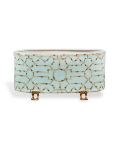 Turquoise Planter with Brass Accents - ON BACKORDER UNTIL MID-AUGUST 2020