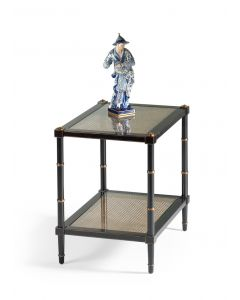 Two Tier Black End Table With Poplar Caned and Glass Shelves
