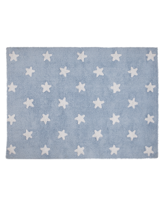 Washable Blue Children's Rug with White Stars - CALL TO CONFIRM AVAILABILITY