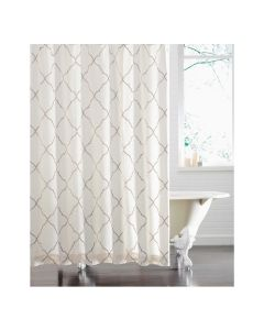 Kravet White Mara Quartz Shower Curtain